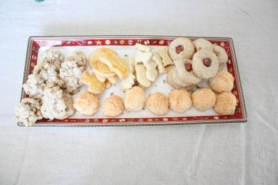 macaron aux flocons d'avoine, butterbredele classiques et à l'eau de rose, noisettines, rochers à la noix de coco